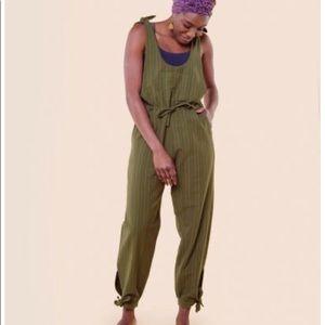 Soul flower boho spirit green overalls